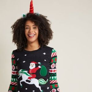 Modcloth Light Up Unicorn Santa Holiday Sweater